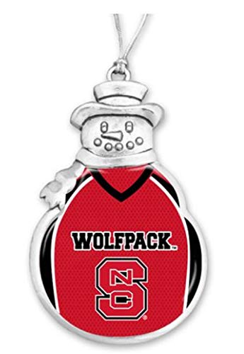 FTH 60630 North Carolina State Wolfpack Football Jersey Snowman Christmas Ornament