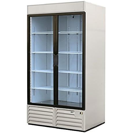 Refrigerator Merchandiser Two Section 49 Cu Ft 2 Glass Doors Analog Controller Asber ARMD 23A