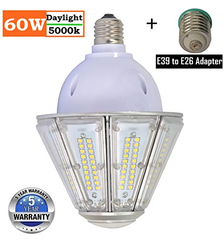 60W LED Corn Light Bulb, 5000K Daylight Cone Led Bulbs, Mogul Base E39 Light Replacement 300W Metal Halide, for Led Canopy Lighting High Bay Garage Warehouse Post Top Wall Lantern,IP65 Water-Resistant