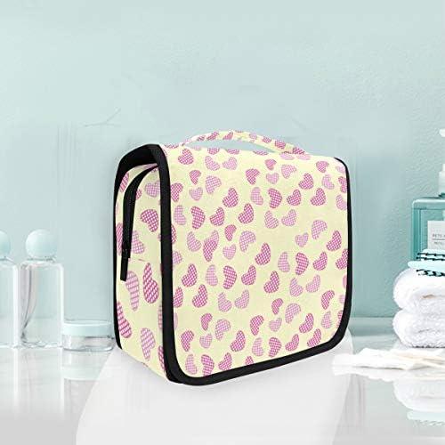 ピンクハートハンギング折りたたみトイレタリー化粧品袋メイク旅行オーガナイザーバッグケース用女性女の子浴室