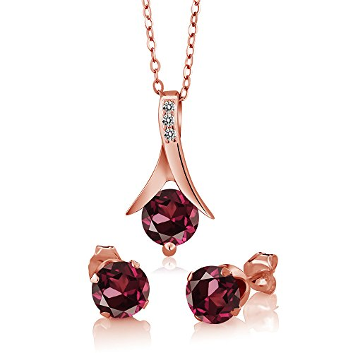 (3.05 Ct Rhodolite Garnet White Diamond 18K Rose Gold Plated Silver Jewelry Set)