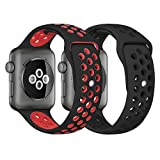 iWatch Band 42mm, KADES Breathable Soft Silicone Replacement Band for 42MM iWatch Series 2 Series 1 Series 3 - Large (2-Pack, Black/Red, Black/Black)