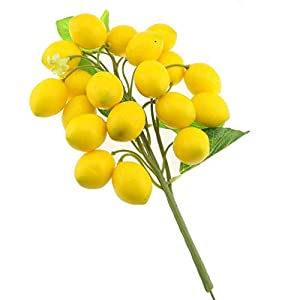 Gresorth Fake Fruit Bunch Decoration Artificial Lemon Lifelike Food Home Kitchen Shop Party Christmas Display 5