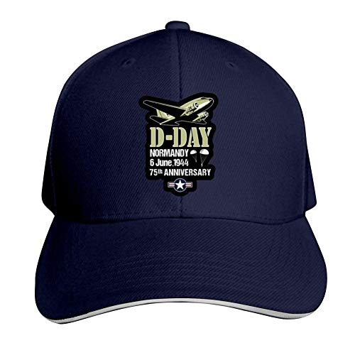 D-Day 75th Anniversary Adjustable Baseball Cap, Old Sandwich Cap, Pointed Dad Cap Navy