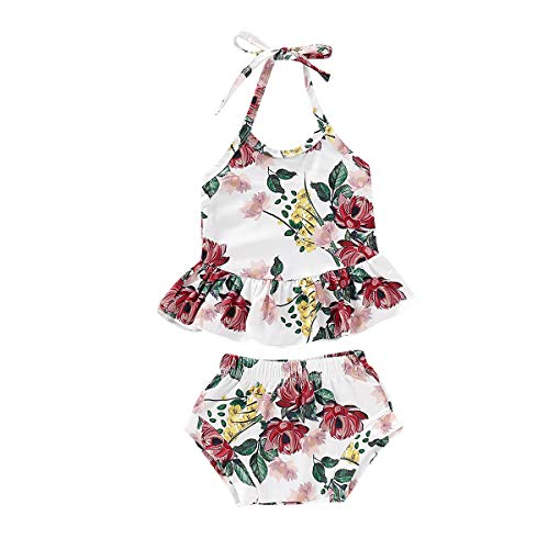 2 Pieces Summer Infant Baby Girl Off Shoulder Strap Ruffled Crop Tops +Floral Shorts Pants Bottoms (White, 18-24 Months) ()
