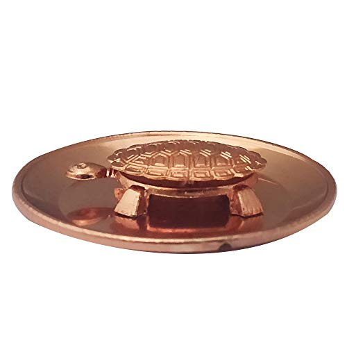 Water Shui Feng (Divya Mantra Feng Shui Pure Copper 2 Inch Tortoise/Turtle with 3.5 Inch Diameter Water Plate; Vastu Living Positivity, Wealth, Money, Good Luck & Longevity; Home, Office Decor Gift Items/Products)