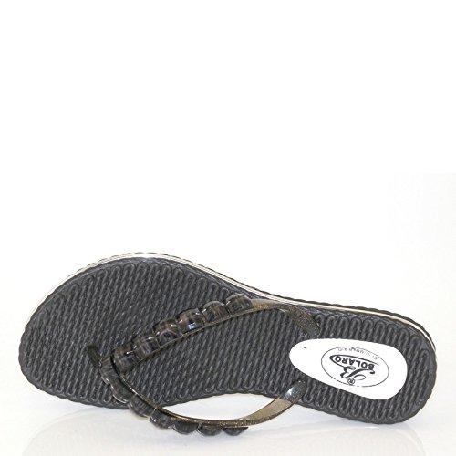 Nieuwe Brieten Dames Bezaaid Flip-flop Comfortabele Platte Sandalen Zwart