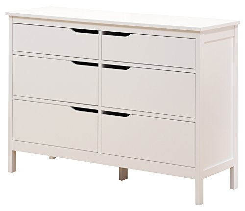 Angel Line Lauren 6 Drawer Dresser, White