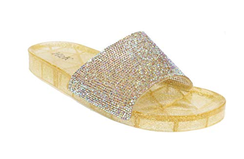 - H2K Women's Crystal with Rhinestone Bling Glitter Open Toe Slide Sandal Flat Jelly Shoes Sunny (7 B(M) US, Gold II)