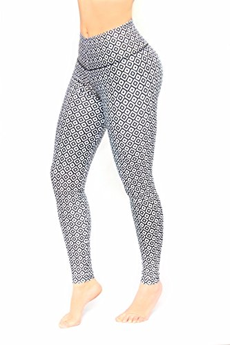 Women Black And White Pattern Printed Leggings With Slim And Tone Control By Bon Bon Up