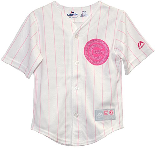 Majestic Chicago Cubs Pink Pinstripe Glitter Logo Cool Base Toddler and Child Jersey (Medium (5/6))