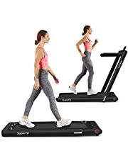 Goplus 2 in 1 Folding Treadmill, 2.25HP Superfit Under Desk Electric Treadmill, Installation-Free with Blue Tooth Speaker, Remote Control, APP Control and LED Display, Walking Jogging for Home Office