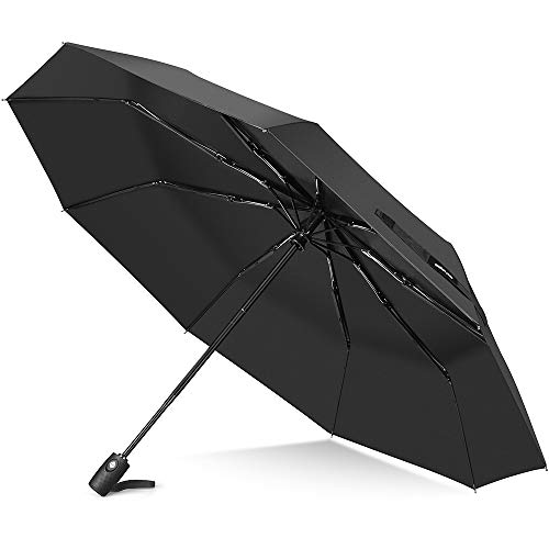 Windproof Umbrella, Auto Open & Close Travel Folding Umbrella with Teflon Coating, Reinforced 9 Ribs for One Handed Operation, Portable Fast Drying Umbrella, Slip-Proof Handle for Easy Carry, Black