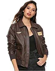 Her Universe Marvel Captain Marvel Cosplay Girls Faux Leather Aviator Jacket