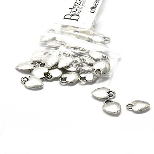 30 Antique Silver Small Little 10mm Heart Drop Charms Plated Pewter Metal
