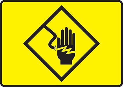 High Voltage Symbol Electric Hand Symbol 7x10 125 Polycarbonate