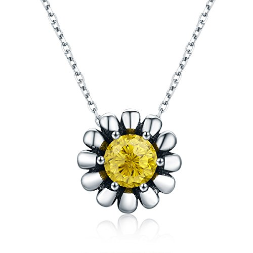Everbling Blooming Yellow Daisy Flower CZ 925 Sterling Silver Pendant Necklace 18