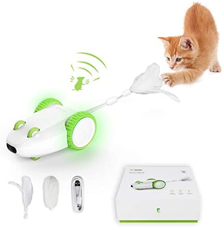 PETGEEK Automatic Cat Toys, Interactive Cat Toy, Mouse Sound Squeaky Cat Toy, Cat Mouse Toys with Cat Wand, Feather Cat Toys for Indoor Cats Exercise, Moving Cat Toy USB Charging, 2 Replaceable Tails