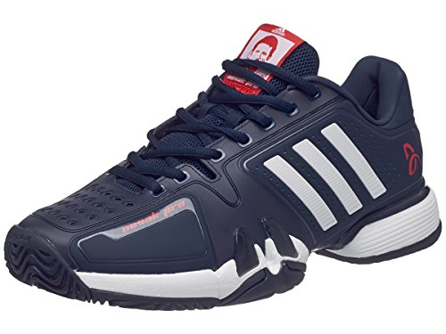 Adidas Barricade 7 Novak Pro Men's Tennis Shoe Core Navy/White/Red (9.5) (Mens Tennis Pro Shoes)