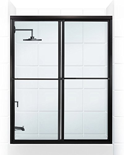 Coastal Shower Doors 1560.58O-C Newport Series Framed Sliding Tub Door with Towel Bar in Clear Glass, 60