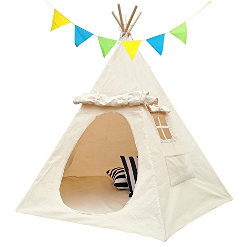 House Kids Garden Playhouse - Lavievert Children Playhouse Indian Canvas Teepee Kids Play House with two Windows - Comes with A Canvas Carry Bag