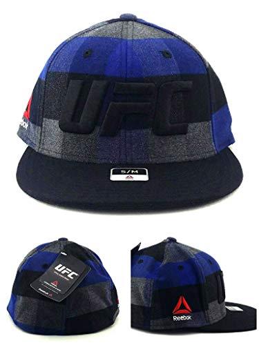f8ac0ad8d46 Reebok UFC MMA RBK Black Blue Gray Flannel Plaid Flex Fit Fitted Hat Cap S M
