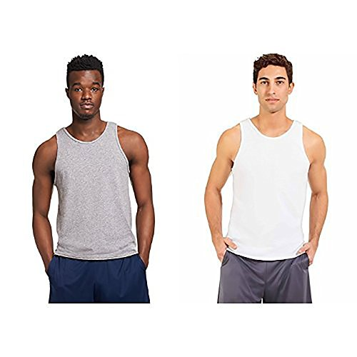 Russell Athletic Men's Essential Cotton Tank Top, oxford/white, 3XL