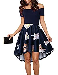 f4a672fae7 Womens Off The Shoulder High Low Hem Cocktail Skater Wedding Party Teen Formal  Dresses (FBA