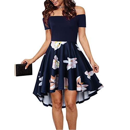 CUQY Ladies Off The Sleeves High and Low Navy Skate Skirt (Navy, S) ...
