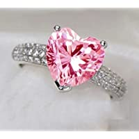 Aisamaisara Women 925 Silver Pink Sapphire Heart White Crystal Wedding Gems Rings Size 6-10 (7)