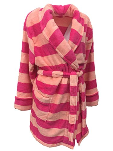 Croft & Barrow Womens Soft Plush Pink & Peach Striped Robe Short Housecoat (Barrow Plush)