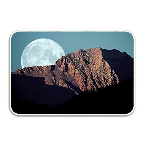 - Elvira Jasper Entrance Rubber Rug Full Moon Mountains Shadows Sky Disk Outdoor Doormat Welcome Floor Mat Home Decor