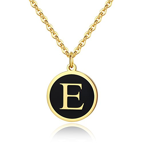 REVEMCN Stainless Steel Alphabet and Bible Verse Proverbs 4:23 Pendant Necklace for Men Women with Keyring and 22'' Chain (Gold-Tone: E)