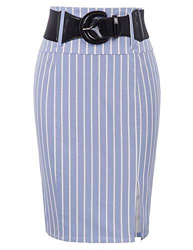 Belle Poque Summer Striped Pencil Skirts for Women Knee Length Cocktail Party Skirt, Light Blue-Stripe, Medium
