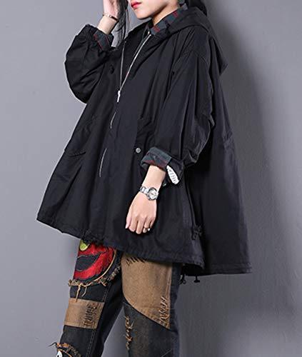 Trench Full Cotton Loose WG3 Anorak Yesno Casual Black Women Plus Jacket Hemline Skirt Coat Size Hooded Zip Wg3 6UnCYx