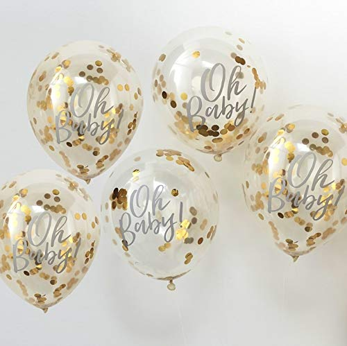 Baby Shower Ideas Baby Shower Decorations Confetti Balloon Decoration Gold 'Oh Baby!', 12