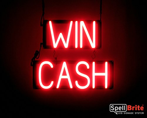 SpellBrite Ultra-Bright WIN CASH Sign Neon-LED Sign (Neon look, LED - Win Light