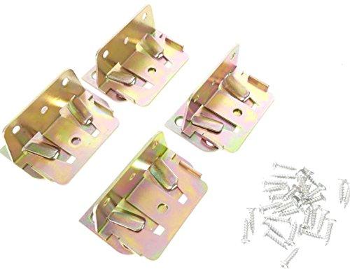 Tech Team Positive Lock Bed Slat Connector Kit, for Wood Bed Frames, 4 Sets, Hardware Included