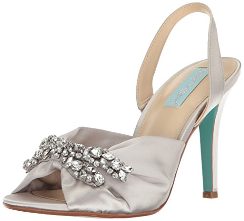 Blue by Betsey Johnson Women's SB-briel Dress Sandal, Silver Satin, 10 M US by Blue by Betsey Johnson