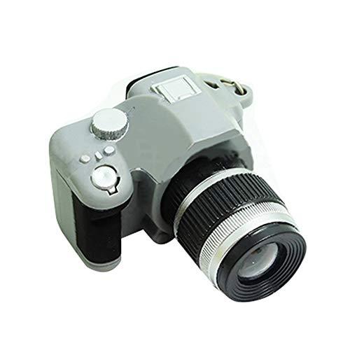Cute Mini Digital Single Lens Reflex DSLR Camera Style LED Flash Light Keychain - Gray GlobalDeal