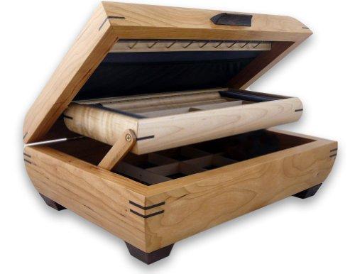 Birdseye Maple Jewelry Box - Modern Artisans Handmade Natural Cherry & Maple Wood Jewelry Box