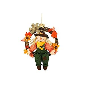 "Amscan Scarecrow Swinging in Wreath Fall Wall Décor 20"" Fabric and Natural Material 99"