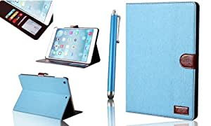 IPAD Air Case £¬OMIU(TM) Stain Resistant Jean Made Carrying Case Cover with Credit Card Holders/Mini Photo Showcase Compatible with IPAD Air(Sky Blue), Support Stand Viewing Videos, Sent With Stylus/Touch Pen