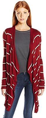 PINK ROSE Womens Cameron Ribbed Sleeve Stripe Cardigan Sweater