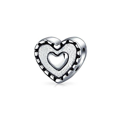 Double Heart Shape Charm Bead For Women For Girlfriend Oxidized 925 Sterling Silver Fits European Bracelet