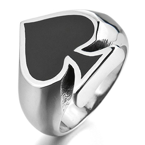 Aooaz Stainless Steel Ring For Men Black Spades Card Poker Polished Band Silver Black Punk Free Engraving Size 11 ()