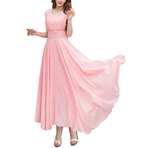 Evening Dress Sleeveless Waist Women Double Afibi Ladies Ruched Long Pink xnTSg0CqFw
