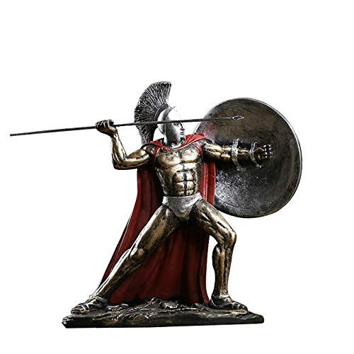 SeedWorld Figurines & Miniatures - Hand Engraving Artwork Retro Medieval Rome Ornaments Spartan Character Armor Knight Model Living Room Decoration 1 PCs ()