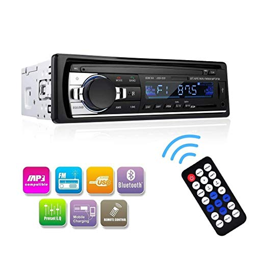 Wikoo Car Stereo with Bluetooth,in-Dash Single Din Car Audio Stereo Receiver,Remote Control Car Radio Receiver,MP3/WMA Player,USB/SD Card/AUX Wireless Remote Control Digital Media Receiver