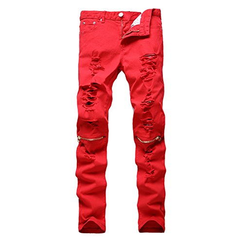(Just No Logo Men's Skinny Hipster Skinny Ripped Gothic Jeans(36W,Red))